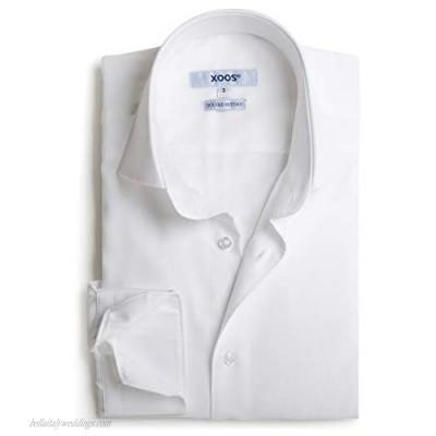 Xoos Paris - Men Fitted Jacquard Shirt Long Sleeves Italian Collar - White
